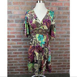 ECI Boho Beaded Paisley Floral Dress, Sz 6